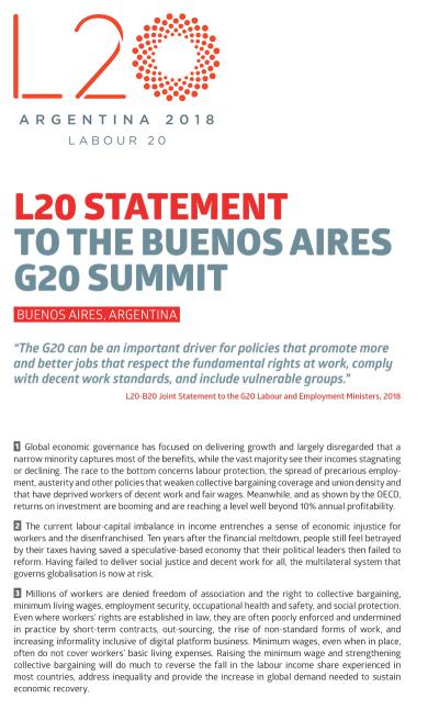 L20 STATEMENT TO THE BUENOS AIRES G20 SUMMIT